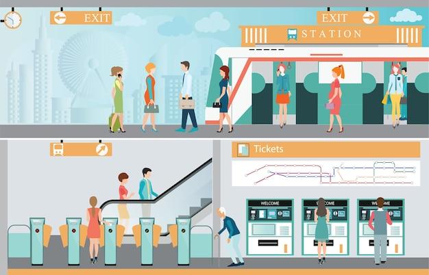 人々が移動する地下鉄の駅のプラットフォーム