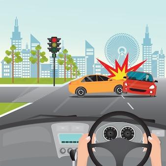 道路上の交通事故の予期しない出来事
