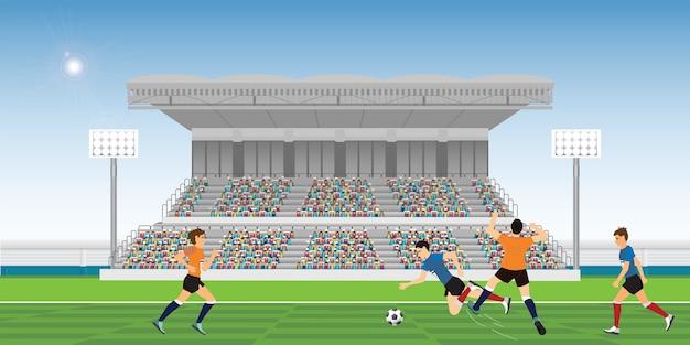 黄色いサッカー選手がファウルを行う。