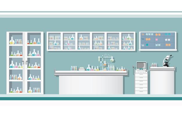科学実験室または実験室の内部