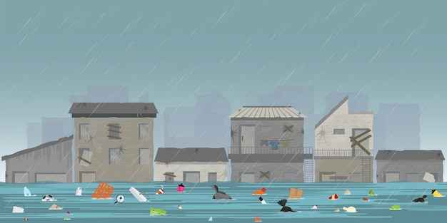 スラム街の大雨と都市洪水