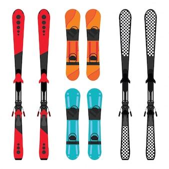 スノーボードとスキー用具のセット。
