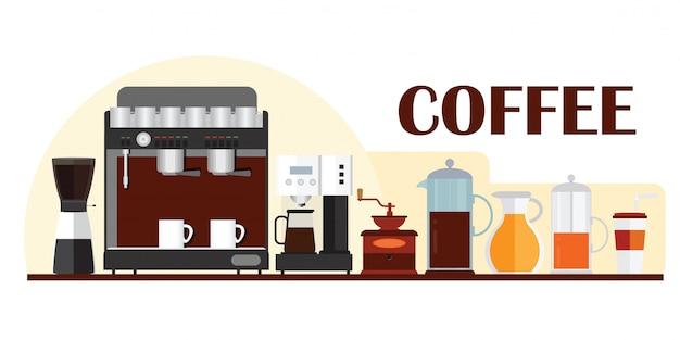 コーヒー機器とバナーデザインのカラフルなテンプレート。