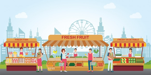 生鮮食品が並ぶ地元の市場。