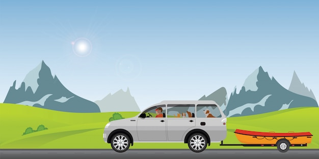 Лодка буксировки автомобиля на дороге, идущей вдоль в солнечный весенний день в праздничные дни
