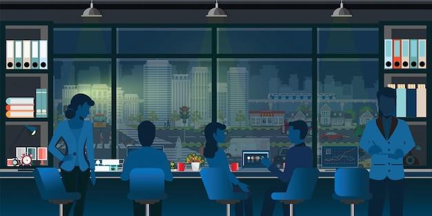 Коворкинг офисный интерьер современный с деловыми людьми.