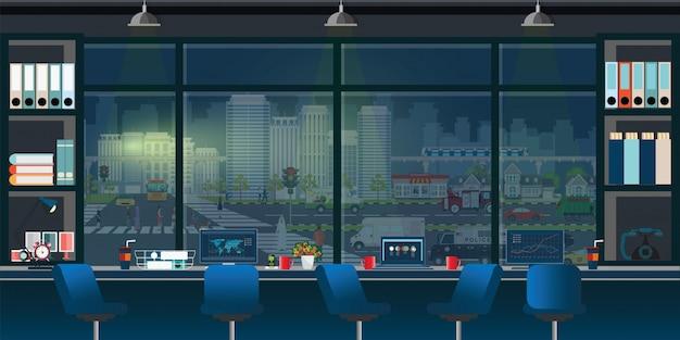 Коворкинг офиса интерьер на рабочем месте.