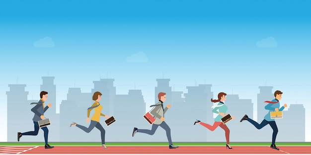 Деловые люди бегут, чтобы финишировать победителем конкурса лидера команды.