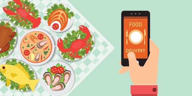 食品バナーとスマートフォン上の食品配達アプリ