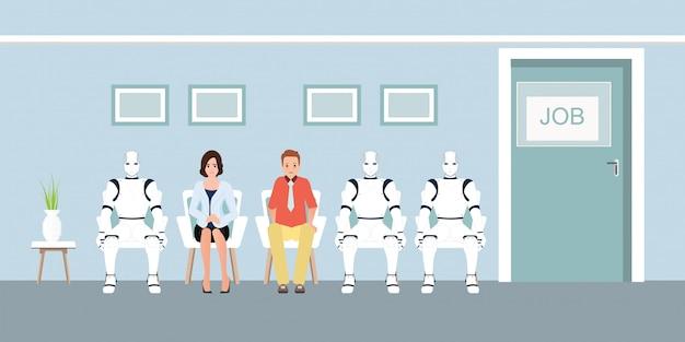 Очередь людей и роботов ждет собеседование в офисе.