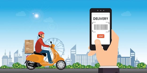 Доставка человек ездить на велосипеде получить заказ.