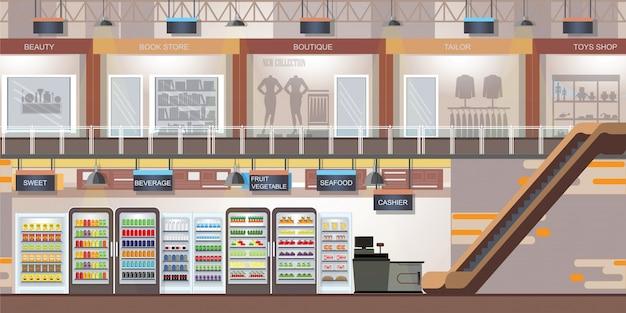 近代的な小売店とスーパーマーケットのあるショッピングモール。