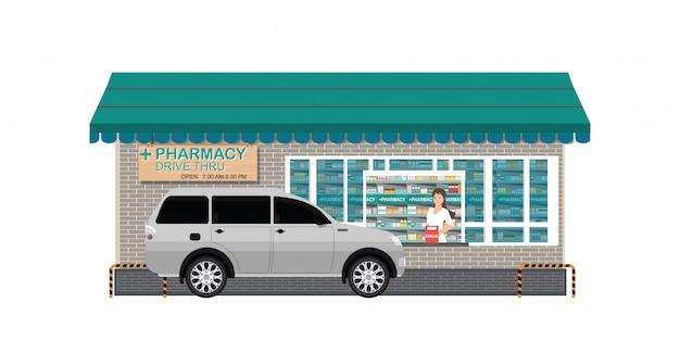 Аптека с покупателем приобретенного товара
