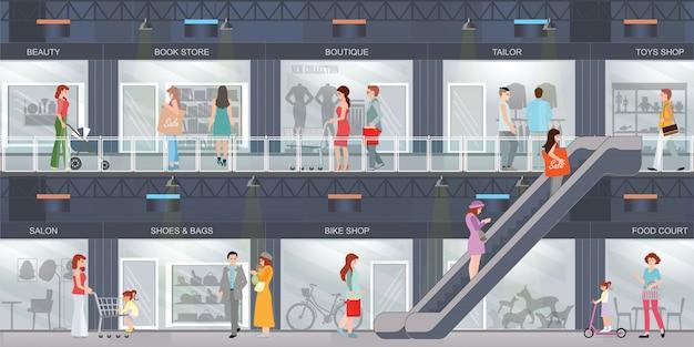 Люди делают покупки в торговом центре.