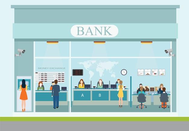 Внешнее здание банка и интерьер банка