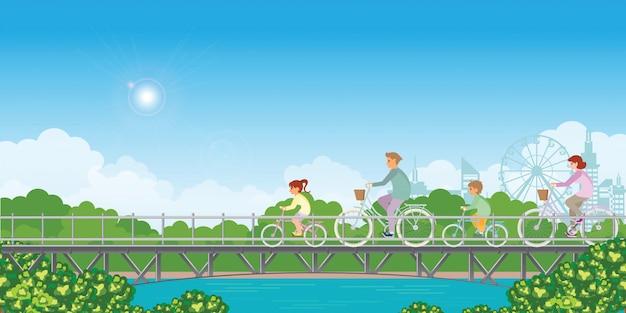 夏休み。家族は橋で自転車に乗っています。