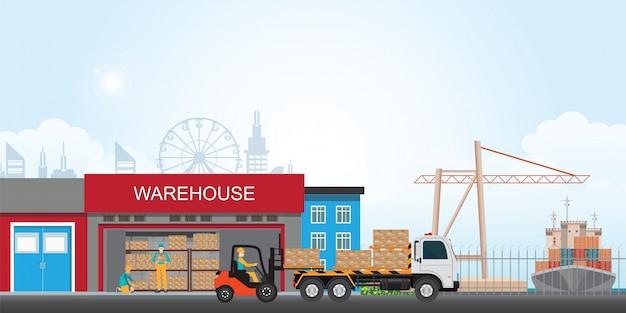 Рабочие, загружающие грузовик упакованными товарами