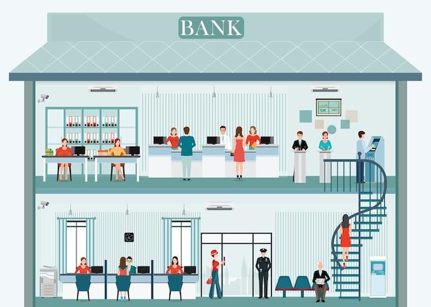 Внешнее и внутреннее здание банка с встречным обслуживанием