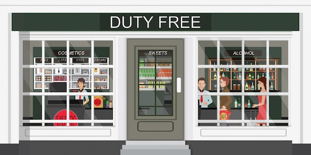 免税店と安価な化粧品、アルコール、食品を購入する人々の正面図。