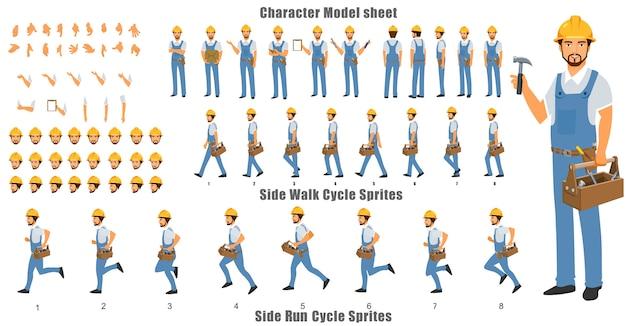 ウォークサイクルとランサイクルのアニメーションシーケンスを持つ便利屋キャラクターモデルシート