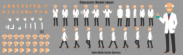 歩行サイクルアニメーションシーケンスを持つ科学者キャラクターモデルシート