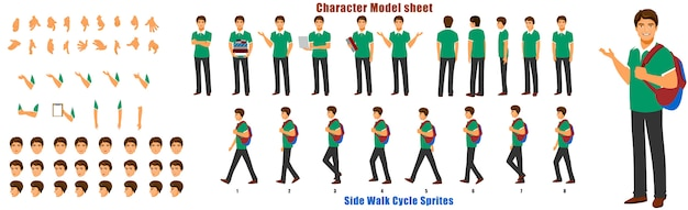ウォークサイクルアニメーションシーケンス付きの学生キャラクターモデルシート