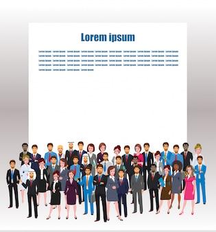 コピースペースで世界のビジネスキャラクターのポーズ