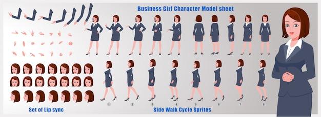 Бизнес девушка модель листа персонажа с анимацией цикла ходьбы и синхронизации губ