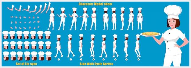ウォークサイクルアニメーションとリップシンクの少女シェフキャラクターモデルシート