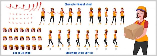 Девушка с доставкой модель листа персонажа с анимацией цикла ходьбы и синхронизацией губ