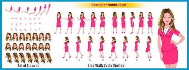 ウォークサイクルアニメーションとリップシンクの少女少女モデルシート