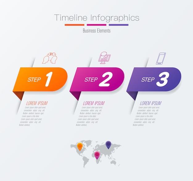 プレゼンテーションのタイムラインインフォグラフィック要素