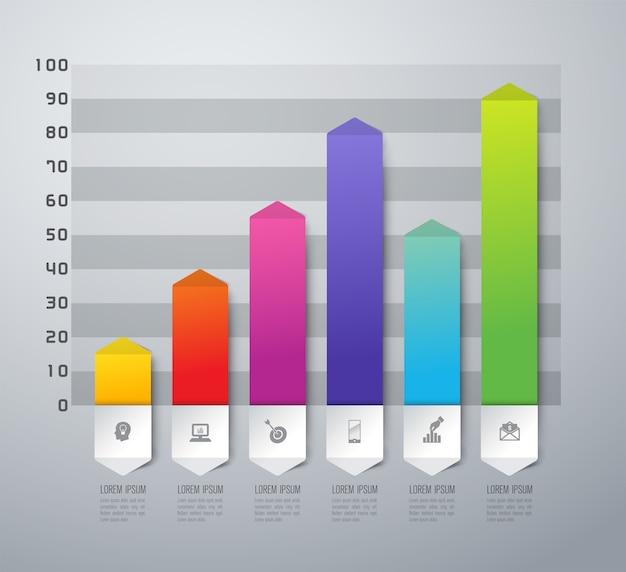 プレゼンテーションのカラフルな棒グラフ要素