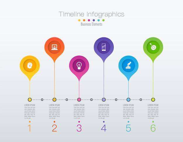 タイムラインインフォグラフィックデザインの手順またはオプション。