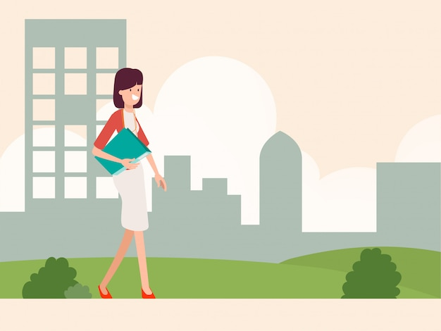 Молодая женщина персонаж собирается на работу.