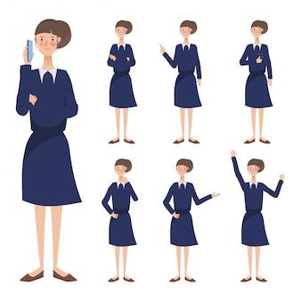 若いビジネス女性キャラクターアニメーションの異なるポーズ。