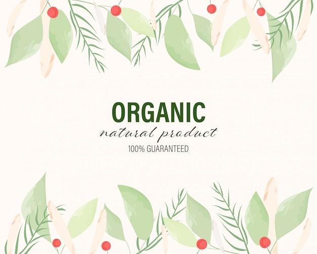 Органические и натуральные рисованной нарисованные акварелью листья фон