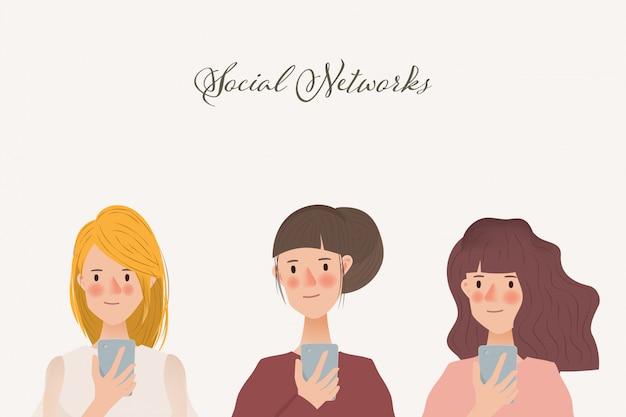 携帯電話を使用して女性キャラクターのセット。ソーシャルメディアネットワーク通信の動向