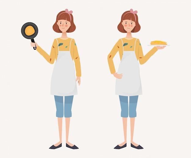 若い主婦のライフスタイルの日課。手描きのキャラクター女性と料理活動。