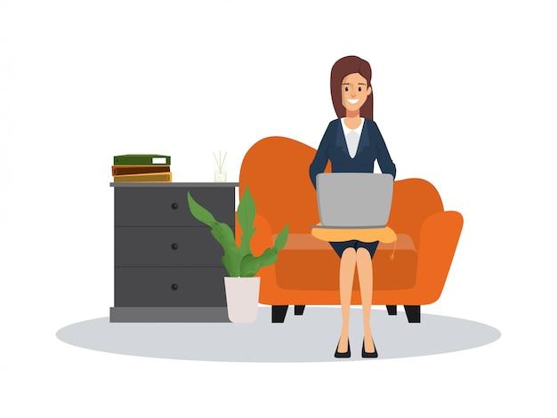 実業家のラップトップが付いているソファーで働いています。仕事中のキャラクター人。