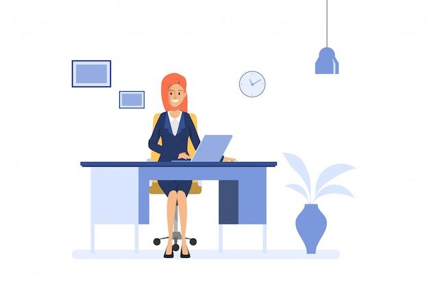 ビジネスの女性がノートパソコンをオフィスの机で働いています。管理オペレーターの仕事ビジネスマンのキャラクター。