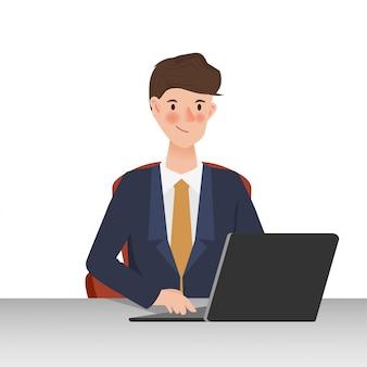 通信にラップトップを使用しているビジネス人々。手描きの働く人のキャラクターデザイン。