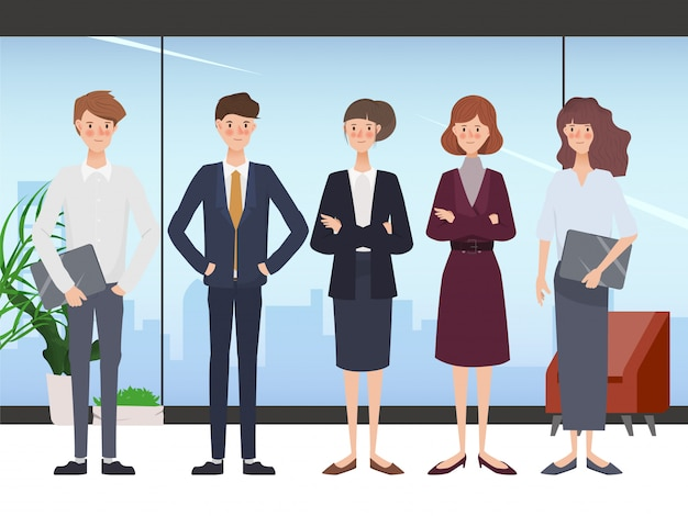 Бизнес рисованной люди команде офиса характер. рабочая область и дизайн интерьера.
