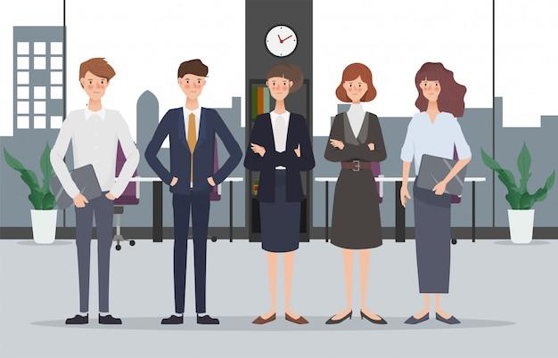 ビジネス手描きの人々チームワークオフィスのキャラクター。ワークスペースとインテリアデザイン