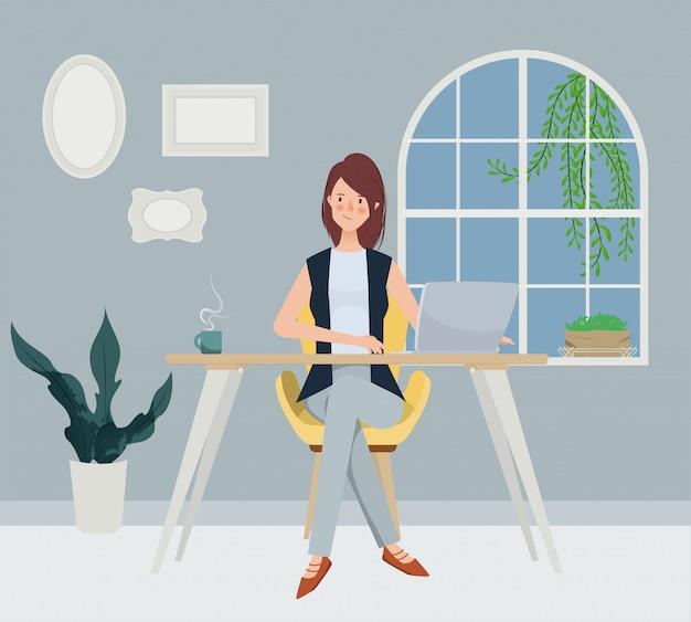 ビジネス女性フリースタイルは窓の近くに働いています。手描きの文字スタイル。