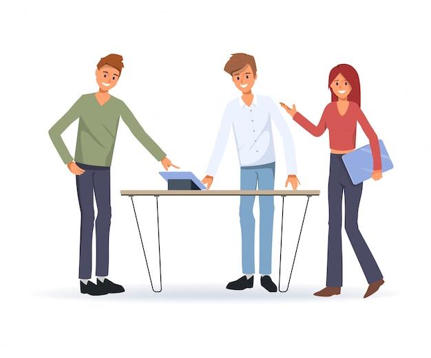 ビジネス人々の共同作業のチームワーク。オフィスのビジネスキャラクター。