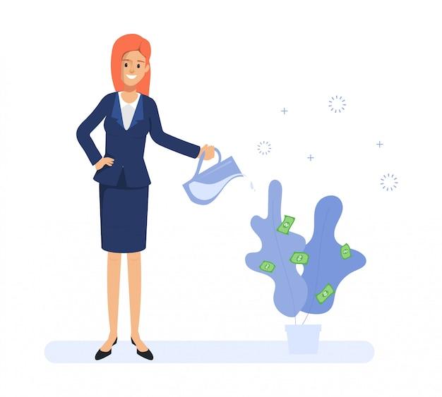 ビジネスの女性は木に水をまき、お金を得ます。日常の日常業務の人々。