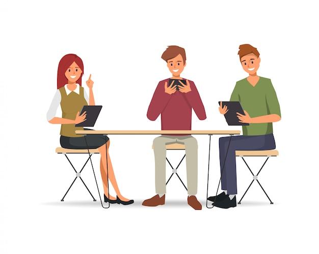 ビジネス人々の共同作業のチームワーク
