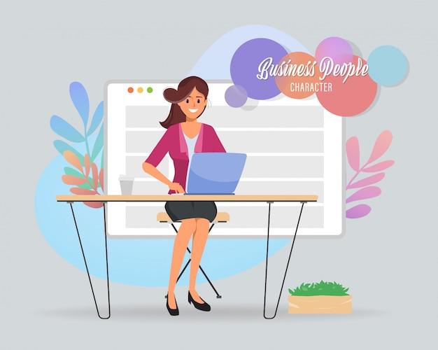オフィスのワークスペースでのビジネスの女性キャラクター。