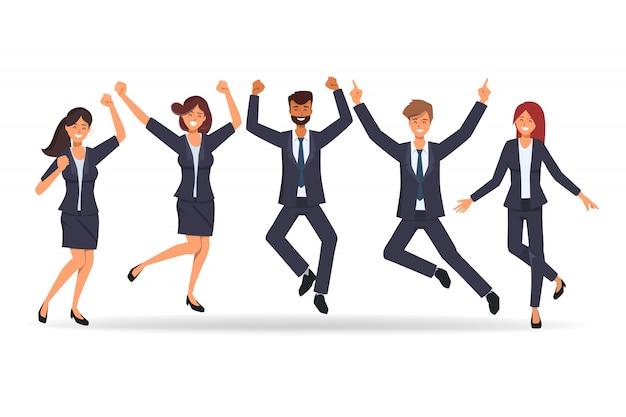 チームワークのビジネスマンは、成功した仕事の後に幸せです。